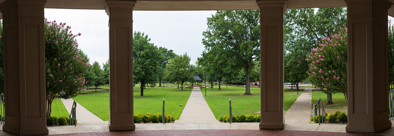 photo of the belltower quad as seen from the library porch