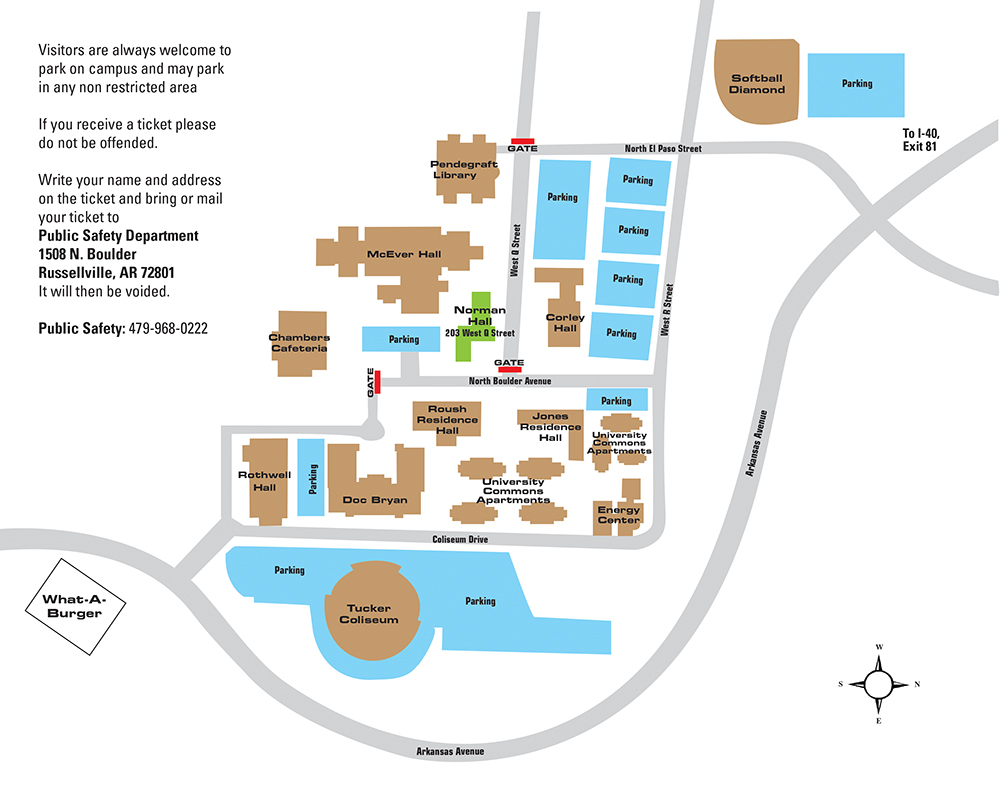 Parking map for Norman Hall
