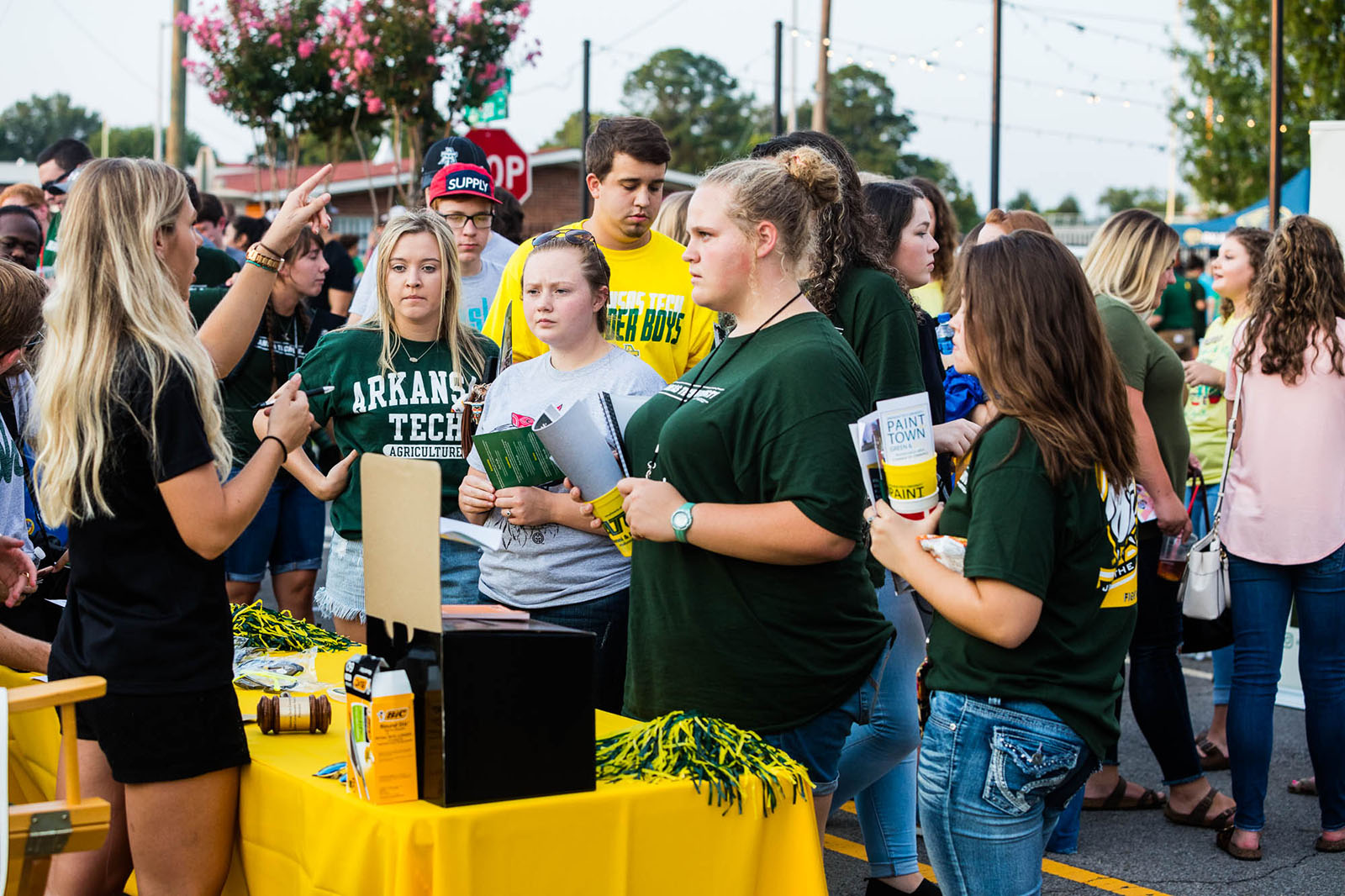 the student section getting pumped at an ATU football game