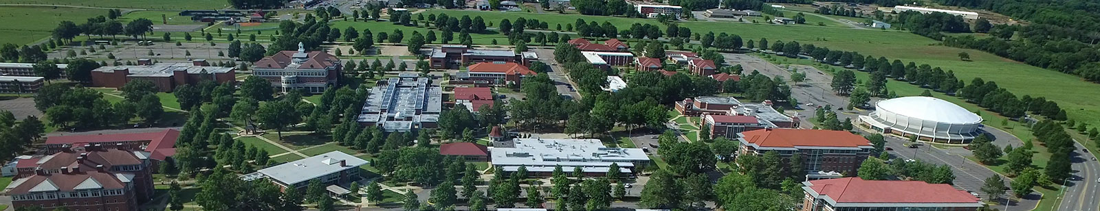 ATU Russellville campus as seen from the sky above the River Valley