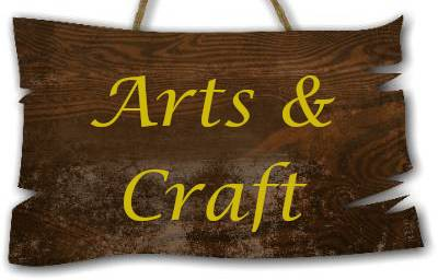 Hanging wooden sign saying Arts & Craft