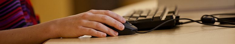 photo of a person using a mouse at a computer