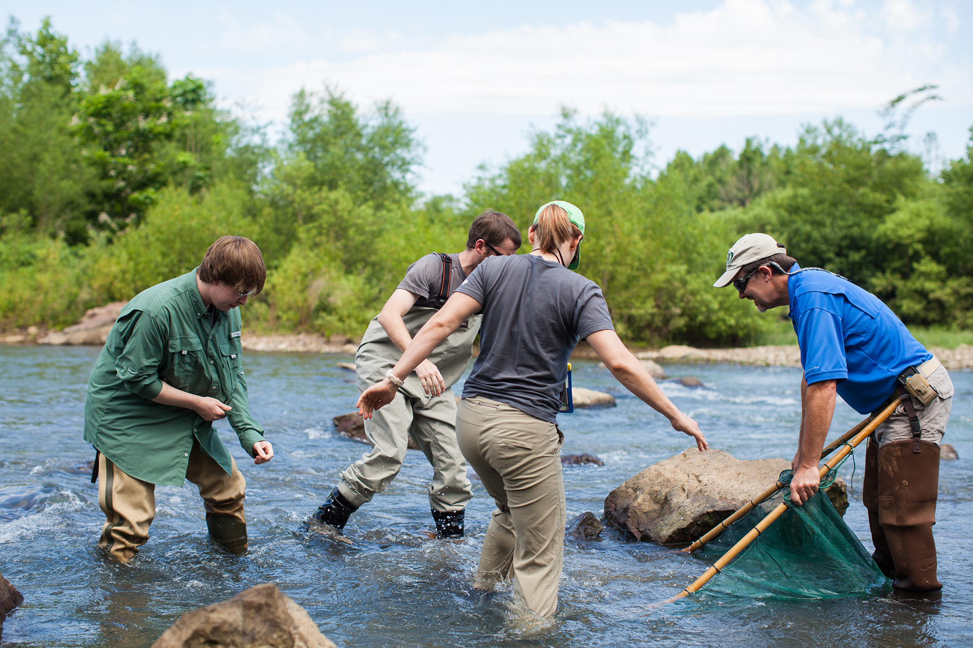 A student in the fisheries and wildlife master's degree program helps a research team in the field