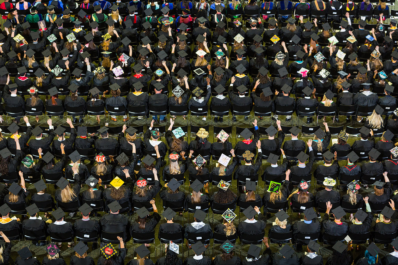 an aerial photo of students at graduation