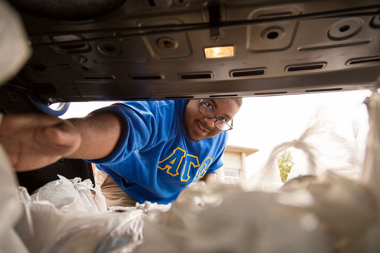 a student reaches into a car trunk to unload canned food at the Helping Halls event
