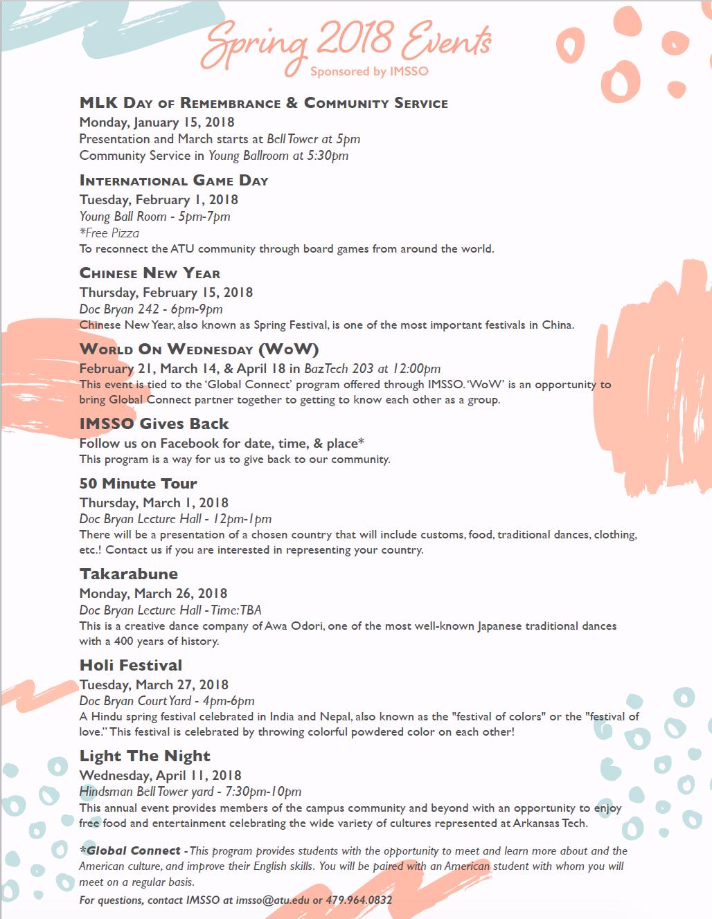 Spring 2018 Event List