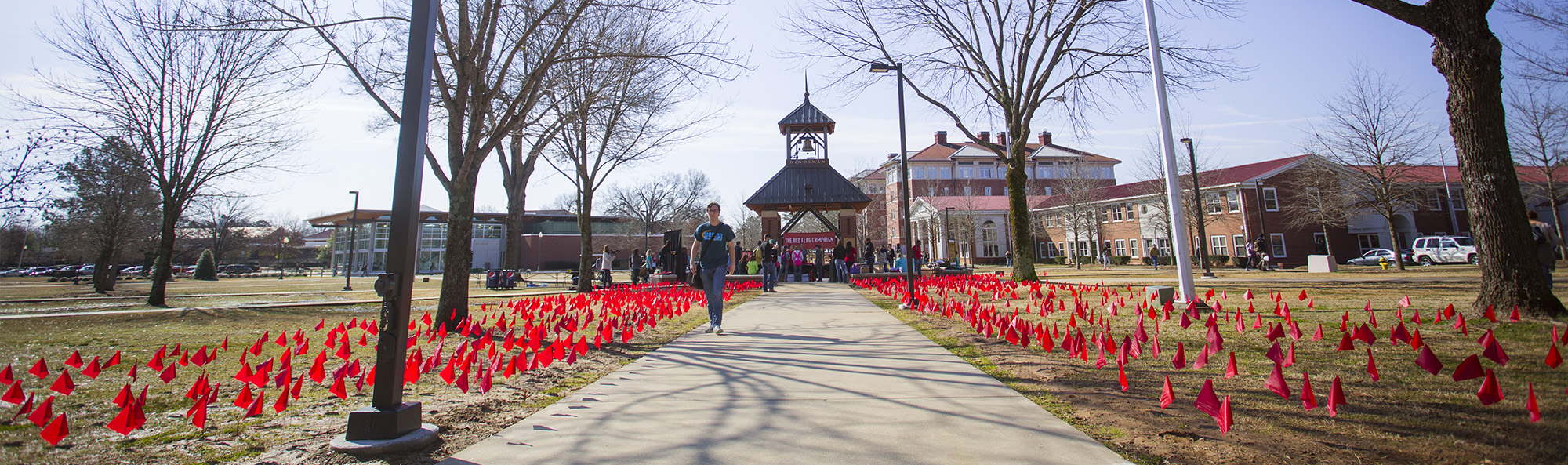 Students are seenat an event bringing awareness to relationship violence.
